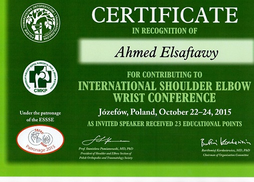 Certyficate International Shoulder Elbow Wrist Conference 2015